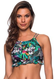 Colorful floral crop top wavy edges - TOP BABADINHO ATALAIA
