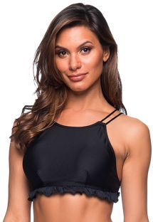 Black wavy crop top - TOP BABADINHO PRETO