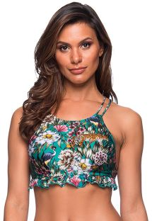 Green floral crop top with wavy finishing - TOP BABADINHO TROPICAL GARDEN
