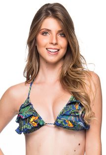 Colorful tropical ruffled triangle top - TOP BABADO ARARA AZUL