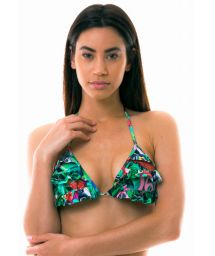 Triangle colorful crop top with flounces - TOP BIG ISLAND