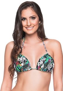 Colorful floral triangle padded and pleated top - TOP BOJO ATALAIA