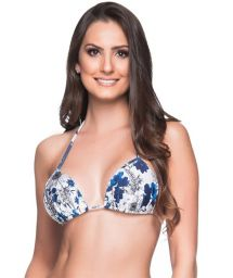Blue & white floral triangle padded and pleated top - TOP BOJO ATOBA