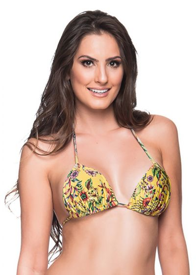 Yellow floral triangle padded and pleated top - TOP BOJO DREAM AMARELA
