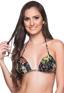 Black floral triangle padded and pleated top - TOP BOJO DREAM