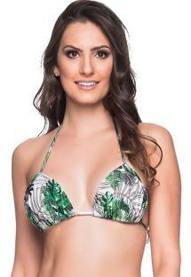 Green & white leaves triangle padded and pleated top - TOP BOJO VIUVINHA