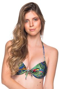 Push-Up-Balconette-Top mit Tropenprint - TOP BOLHA ARARA AZUL