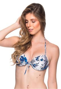 Blue & white floral underwired push-up balconette - TOP BOLHA ATOBA