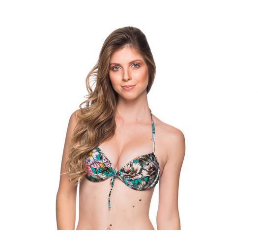 Green floral underwired push-up balconette  - TOP BOLHA TROPICAL GARDEN