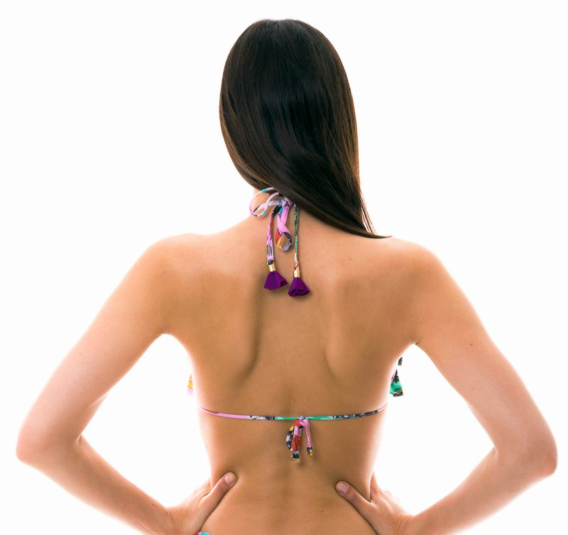 Dreieck Bikinioberteil mit Volants und Kuban drucken - TOP BORA-BORA