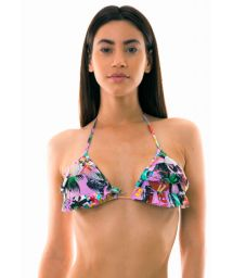 Triangle bikini top with flounces and Cuban print - TOP BORA-BORA