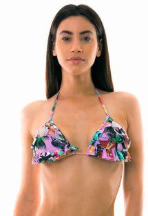 Triangle bikini top with flounces and Cuban print - TOP BORA-BORA