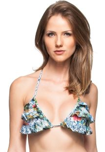 Floral triangle bikini tops with frills - TOP CASTANHA DO PARA