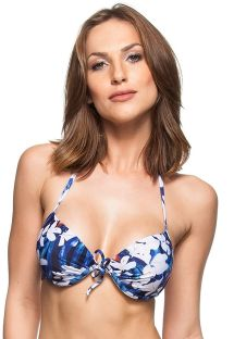Floral blue and white pleated push-up bikini top - TOP CERISIER
