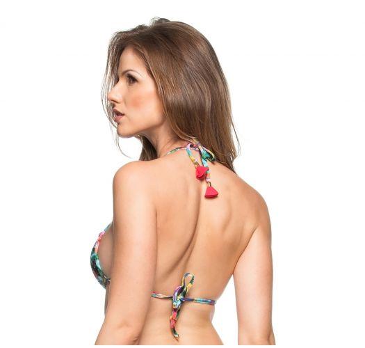 Triangle padded bikini top with Cuba print and pompons - TOP CHA VERDE