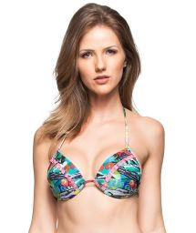 Triangle padded bikini top with Cuba print and pompons - TOP CHA VERDE