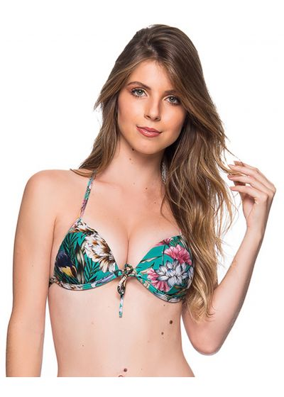 Green floral push-up triangle top - TOP CORTINAO TROPICAL GARDEN