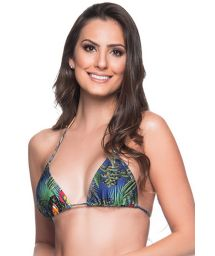 Multicolored tropical sliding triangle top - TOP CORTINIHA ARARA AZUL