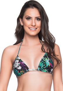 Multicolored floral sliding triangle top - TOP CORTININHA ATALAIA