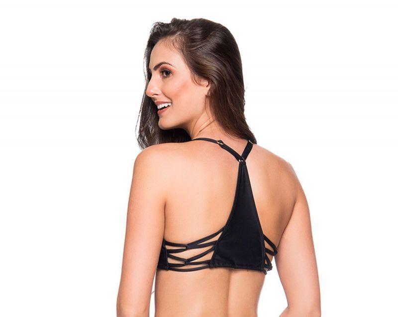 Black bra bikini top with stripes - TOP CROPPED PRETO LP