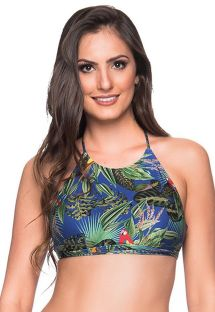 Colorful tropical crop top - TOP CRUZADO ARARA AZUL