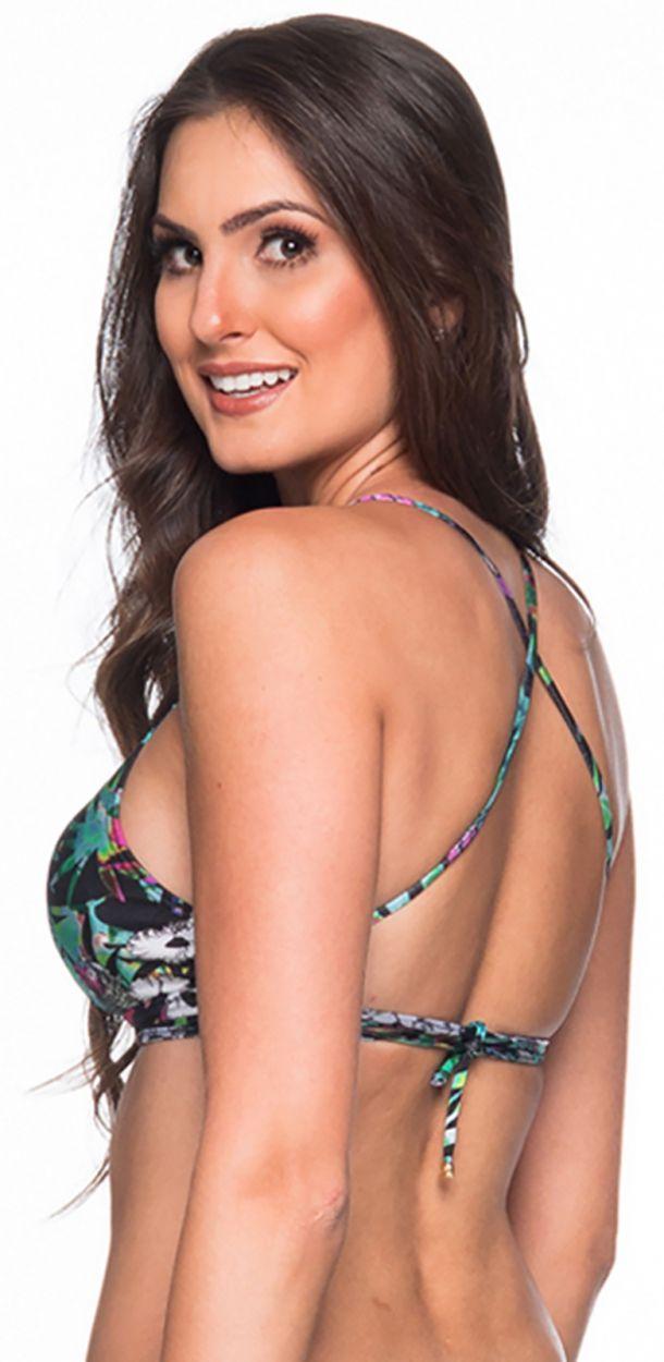 Flerfärgatblommönstrad kort bikinitopp - TOP CRUZADO ATALAIA