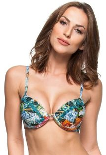 Push-up balconette bikini top with pompons and colorful print - TOP DESERTO DE SAL