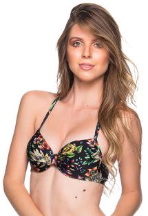 Floral black underwired balconette top - TOP DRAPE DREAM