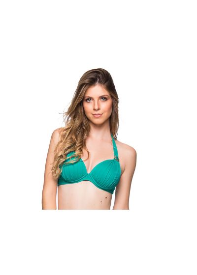 Green padded and underwired halter top with stones  - TOP DRAPEADA ARQUIPELAGO