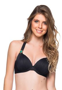 Black padded halter top with stones - TOP DRAPEADA PRETO