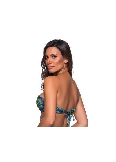 Accessorized bandeau top in colorful tropical print - TOP FAIXA ARARA AZUL