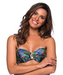 Accessorized bandeau top in colorful tropical print - TOP FAIXA ARARA AZUL