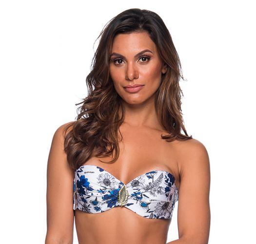 Accessorized bandeau top in blue & white floral print - TOP FAIXA ATOBA