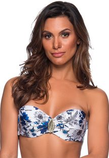 Accessorized bandeau top in blue & white floral print - TOP FAIXA ATOBA