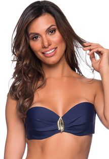Navy blue accessorized bandeau top - TOP FAIXA MIRAMAR
