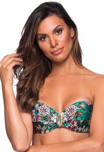 Green accessorized bandeau top in floral print - TOP FAIXA TROPICAL GARDEN