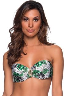 Accessorized bandeau top in green leaves - TOP FAIXA VIUVINHA