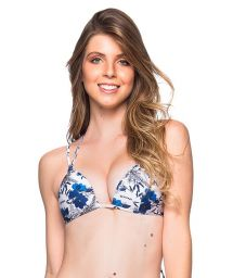 Blue and white floral triangle top double stripes - TOP FIXO ATOBA