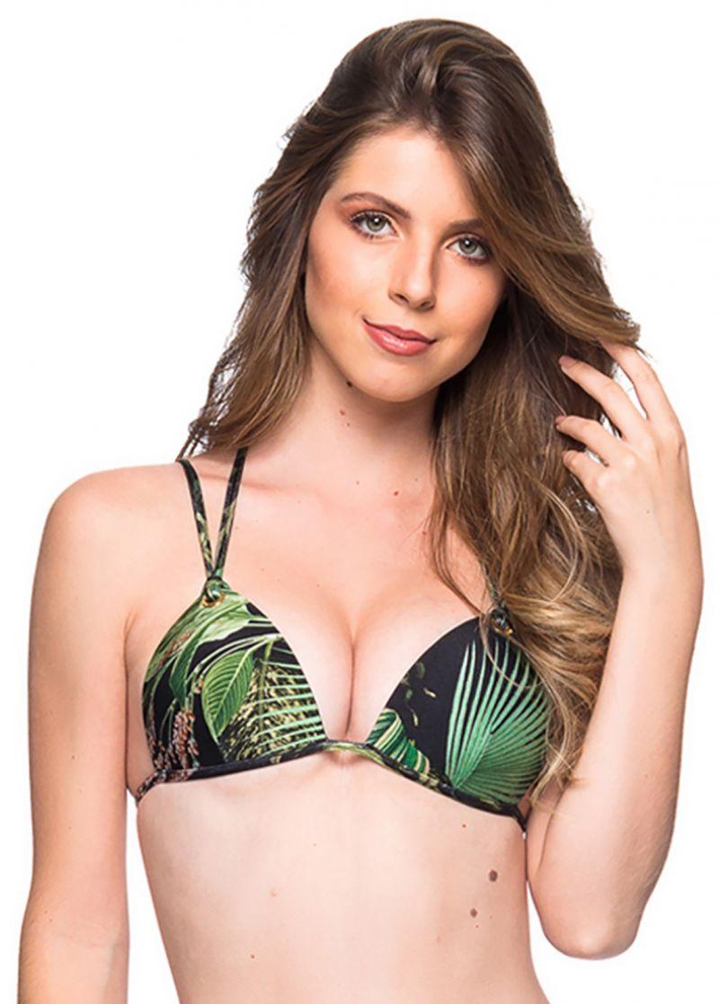 Tropical green double strap triangle top - TOP FIXO BOTANICAL