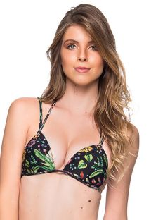 Black floral triangle top double stripes - TOP FIXO DREAM
