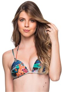 Tropical print double strap triangle top - TOP FIXO NORONHA FLORAL