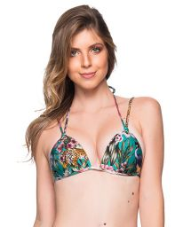 Green floral double strap bikini top - TOP FIXO TROPICAL GARDEN