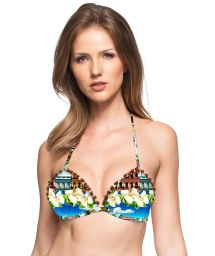 Bikini top with Cuba motif and pompons - TOP FRANJINHA