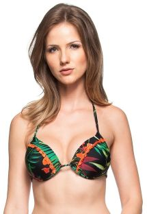 Hard padded black Brazilian bikini top with tropical print and orange pompons - TOP ILHA BONITA