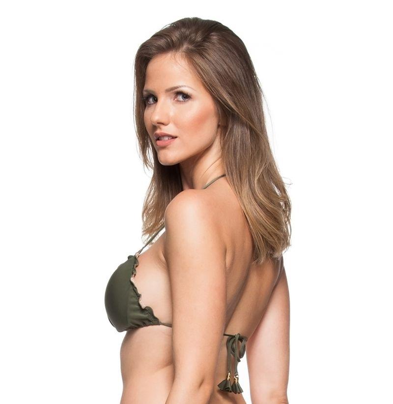 Khaki bikini top with wavy edges - TOP IRIS VERDE