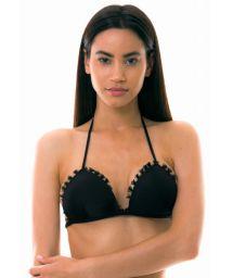Black triangle bikini top with wavy edges - TOP JABOTICABA