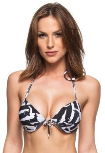 Two-tone black and white underwire push-up bikini top - TOP KILAUEUA