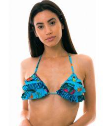 Floral blaues Dreieck Bikinioberteil mit Volants - TOP LAGO HURON