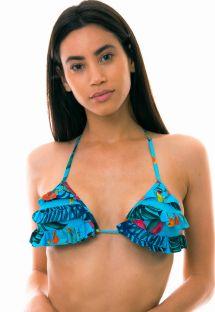 Floral blue triangle bikini top with flounces - TOP LAGO HURON