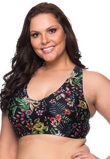 Black floral bra top plus size - TOP LARGA DREAM